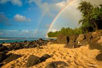 Kauai,Ke'e Beach,Princeville,sunset, North Shore, Hawaii, Double Rainbow