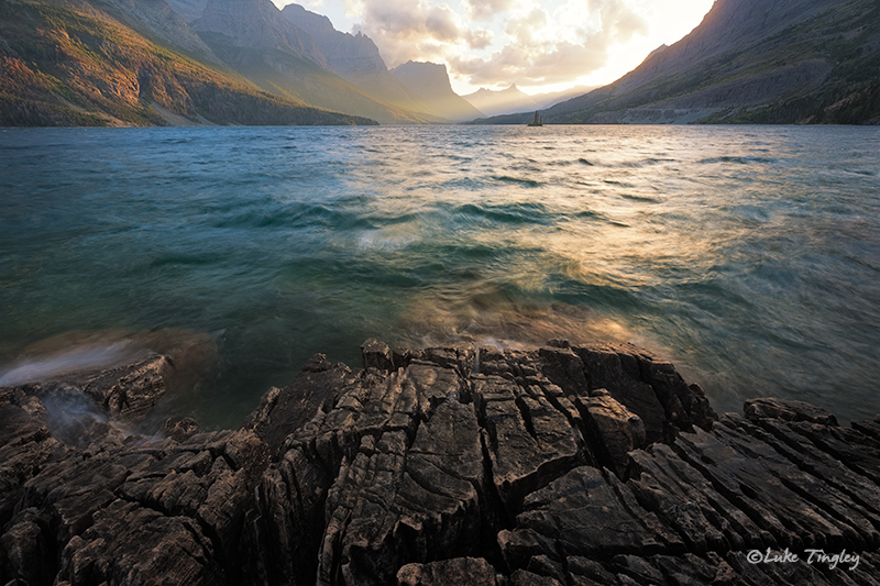 glacier national park, MT, Montana, GNP, wild goose island, sunset, going to the sun road