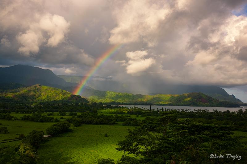 Hanalei,Hanalei Overlook,Kauai,Princeville, Rainbow, Hawaii, photo