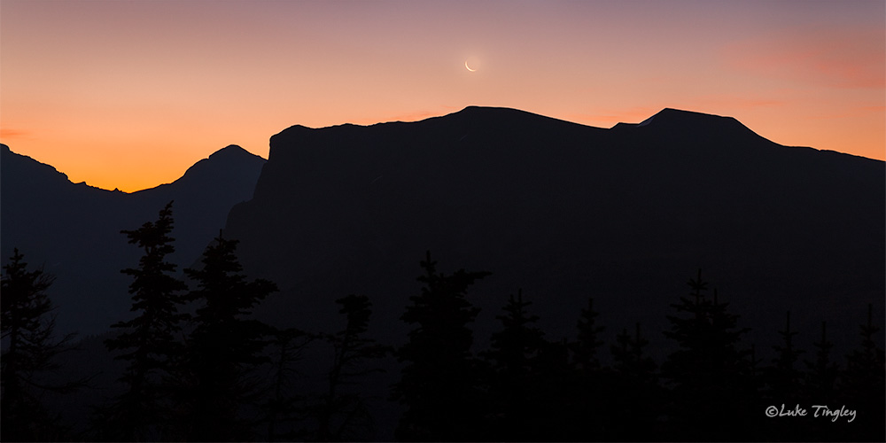 2014,canadian rockies, backcountry, crescent moon, moonset, sunrise, photo