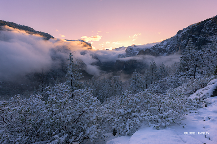 Yosemite National Park, Yosemite, California, CA, Snow, Sunrise