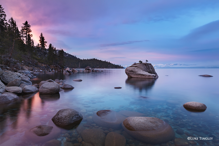 First light on the famous Bonsai Rock on Lake Tahoe.