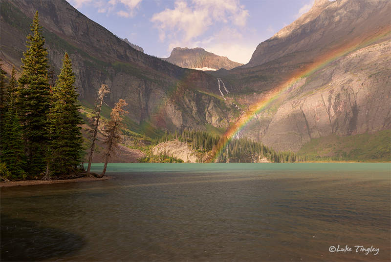 glacier national park, MT, Montana, GNP, many glacier, double rainbow, rainbow, grinnell lake, rain, early morning, grinnell glacier