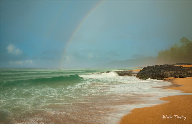 Kauai,Kauapea Beach,Kilauea Lighthouse,Princeville,Rain,Secret Beach,Waves,sunset, Hawaii, photo