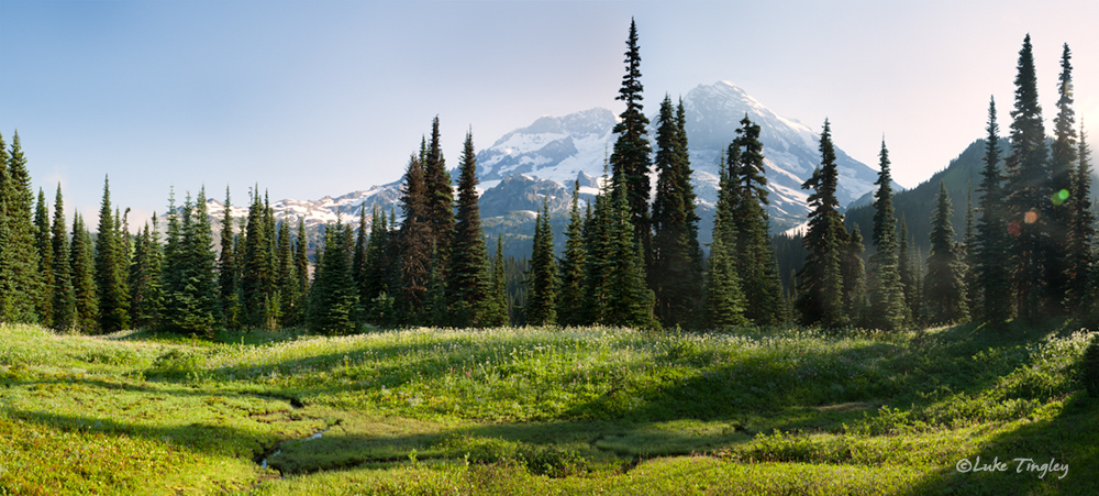 Mt Rainier, Rainier National Park, Washington, Backcountry, Wonderland Trail, Morning, Pano