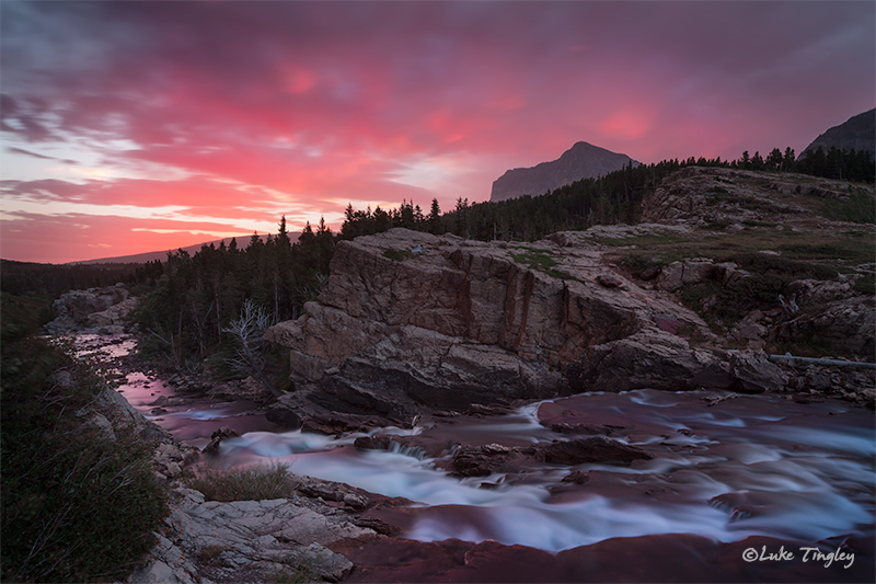 glacier national park, MT, Montana, GNP, many glacier, swiftcurrent falls, sunrise
