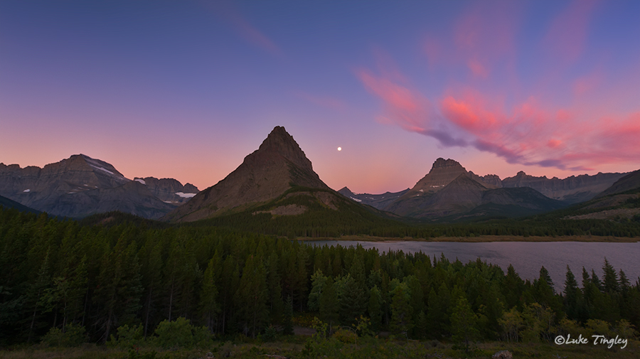 glacier national park, MT, Montana, GNP, many glacier, swiftcurrent lake, mount grinnell, sunset, full moon, earth shadow, belt of venus