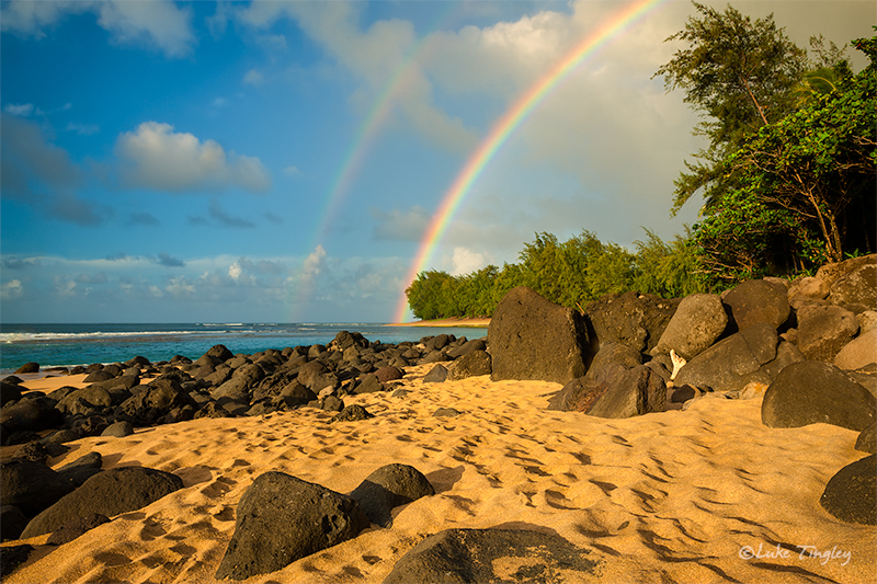 Kauai,Ke'e Beach,Princeville,sunset, North Shore, Hawaii, Double Rainbow, photo