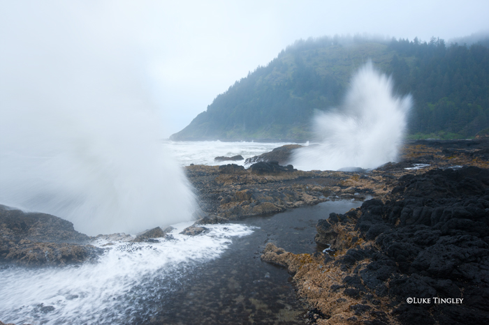 Thor's Well, Rain, Waves, Cape Perpetua, OR, photo