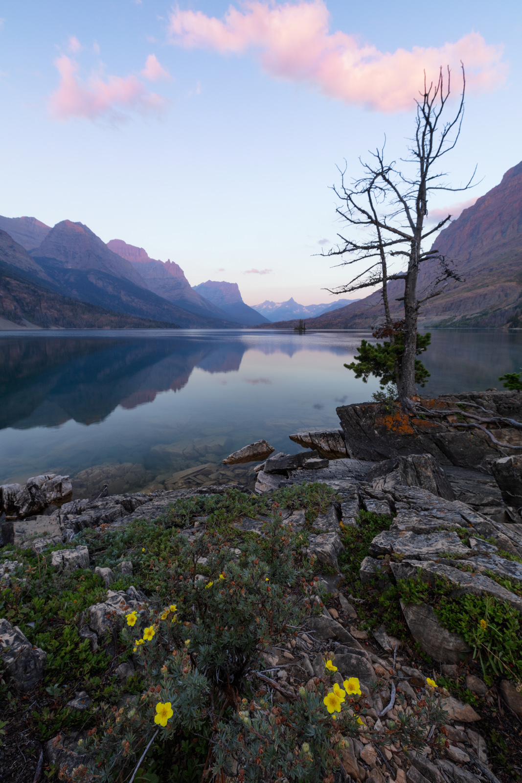 GNP, Glacier National Park, Montana, St Mary Lake, Summer, Wild Goose Island, photo
