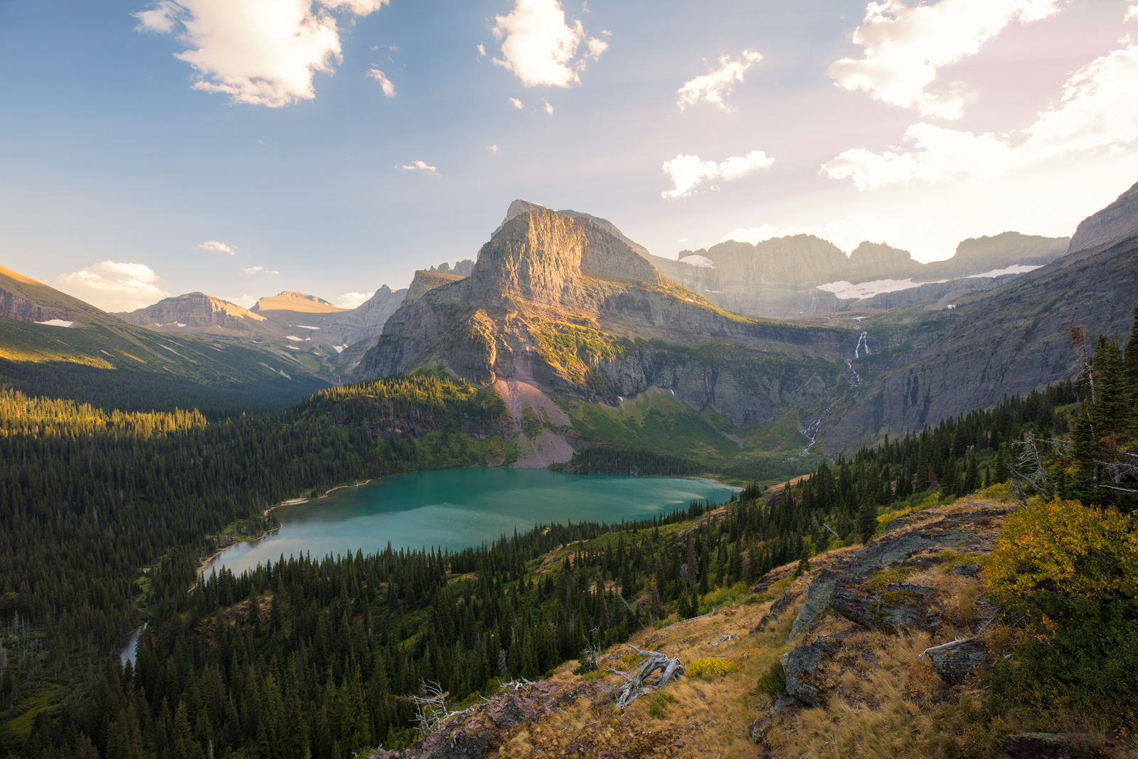 GNP, Glacier National Park, Grinnell Glacier Trail, Lower Grinnell Lake, Montana, Summer, hiking, sunset