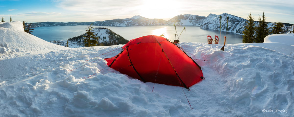 2016, Crater Lake, February, Pacific Northwest, Rim, Snow Camping, Snowshoe, Winter, tent